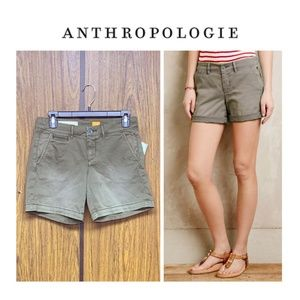 NEW Anthro Pilcro Relaxed Hyphen Chino Shorts Moss